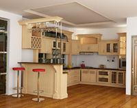 Tủ bếp gỗ sồi Nga mẫu  03