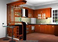 Tủ bếp gỗ xoan đào mẫu 05