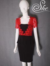 Đầm công sở D7519 Ren đỏ