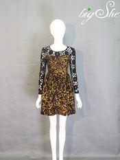Đầm công sở D8008 len hoa vàng