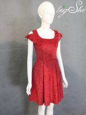 Đầm công sở D8009 Hoa đỏ