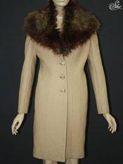 Áo măng tô cổ lông M1400 be vàng