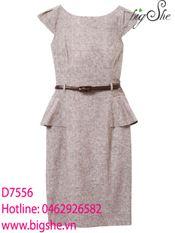 Đầm peplum màu be D7556