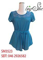Sơ mi cổ ren thắt nơ xanh dương SM3523