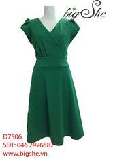 Đầm công sở xòe xanh lá D7506