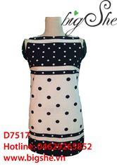 Đầm suông chấm cổ thuyền D7517
