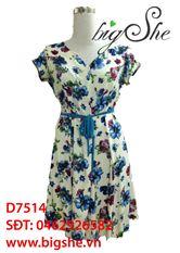 Đầm suông hoa nhí thắt nơ D7514