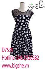 Đầm xòe hoa mai đen trắng D7539