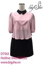 Đầm hai lớp đen phối hồng