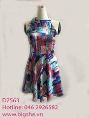Đầm xòe họa tiết