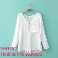 Áo đũi tay dài trắng - đen SM3562