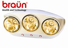 Đèn sưởi nhà tắm Braun  (3 bóng vàng )