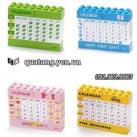 Bộ chia cổng USB kèm lịch lắp ghép lego xếp ngày tháng tùy chỉnh