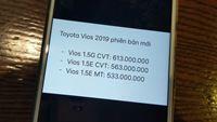 Lộ giá bán Toyota Vios 2018 mới, phiên bản G cao nhất 613 triệu đồng