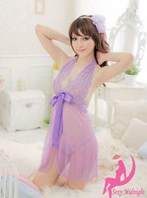 Váy Ngủ Xẻ Giữa Tím 0357