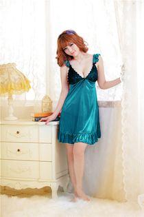 Váy Ngủ Phi Thun 0458 Xanh