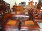 Bộ bàn 6 món - Gỗ căm xe, mặt bàn và mặt ghế gỗ gõ đỏ
