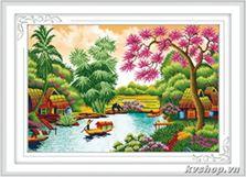 Tranh thêu Làng quê yên bình - E8119