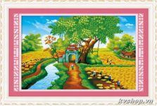 Tranh thêu Làng quê yên bình - E8121
