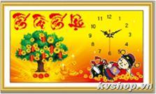 Tranh gắn đá hạt mờ Hokee - Y200 - Đồng hồ tài lộc
