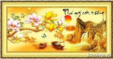 cc2 Tranh thêu chữ thập DLH - 222950 - Phú quý cát tường