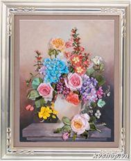 Tranh ruybang silk - kv680 - bình hoa sắc màu
