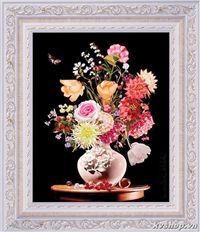 Tranh ruybang silk - s031 - bình hoa sắc màu