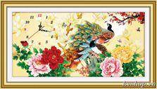 Tranh thêu chữ thập - DLH-A1167 - đồng hồ chim công