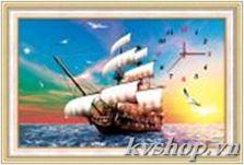 Tranh thêu chữ thập - DLH-A1168 - đồng hồ thuyền