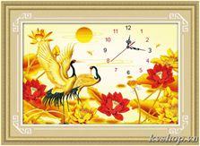 Tranh thêu chữ thập - DLH-A1170 - đồng hồ chim hạc