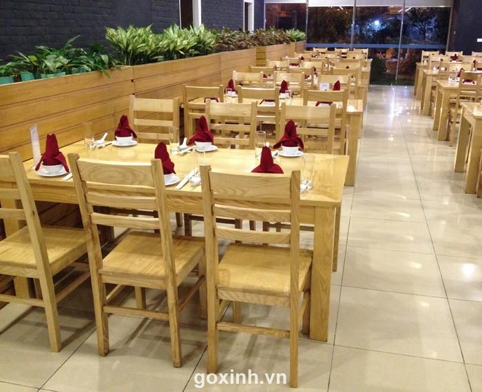 Bộ Bàn ghế nhà hàng gỗ Sồi 01