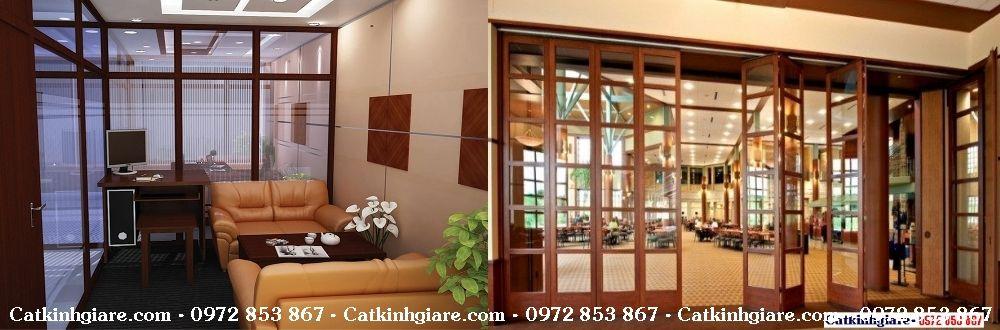 Cửa kính, vách kính khung gỗ đẹp