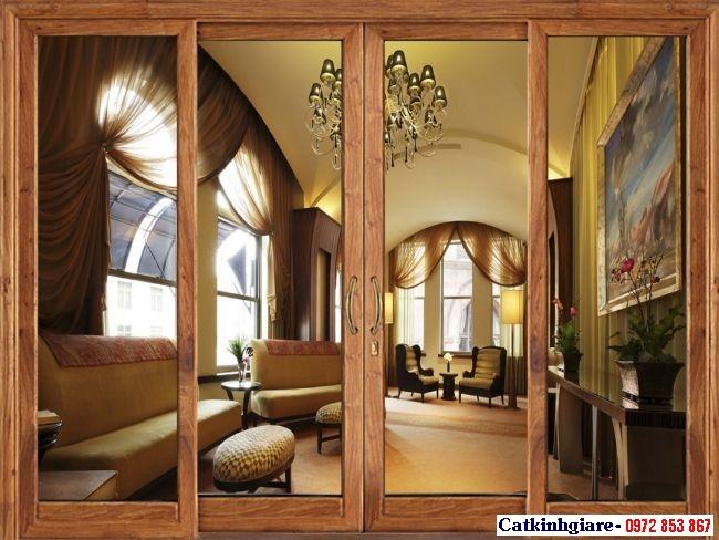 Mẫu cửa kính cường lực khung gỗ đẹp KG03