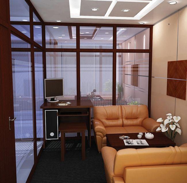 Vách kính cường lực khung gỗ văn phòng