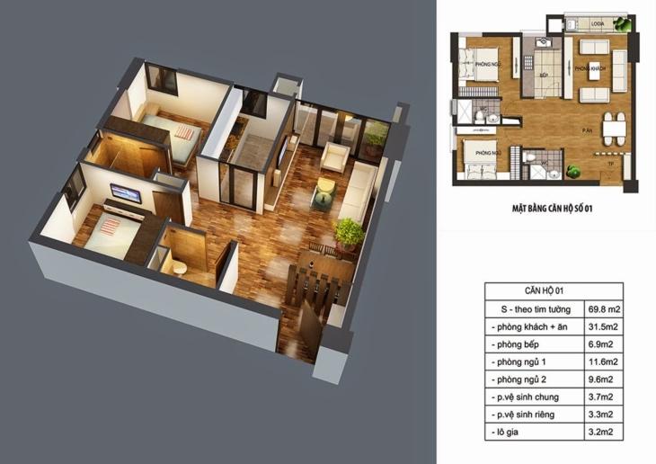 Thiết kế căn hộ chung cư CT36 Dream Home
