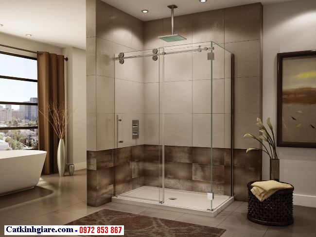 Vách kính phòng tắm góc vuông 2