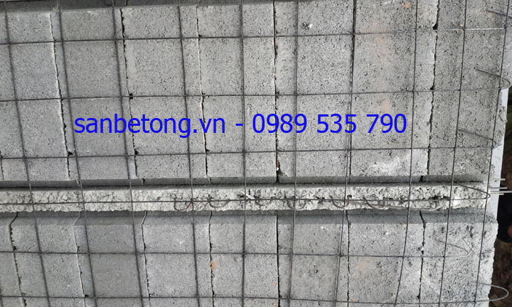 Cận cảnh lớp cốt sắt dự ứng lực trong thi công sàn bê tông nhẹ