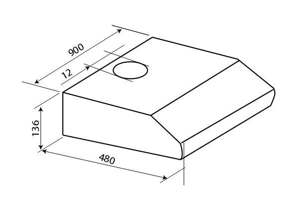 Bản vẽ kỹ thuật Máy hút mùi Hafele HH-BI90B