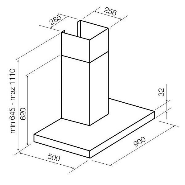 Bản vẽ kỹ thuật máy hút mùi Hafele HH-WIS90A