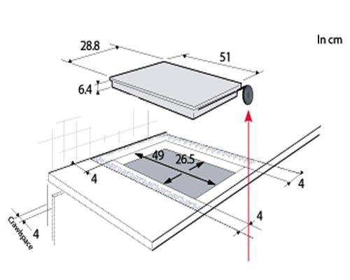 Kích thước Bếp từ Domino Brandt TI1000B