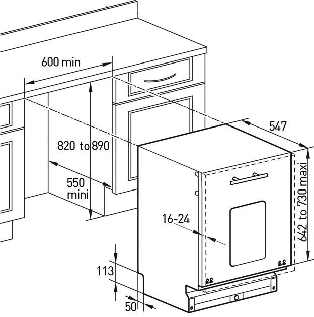 Kích thước lắp đặt máy rửa bát Brandt VH1225XE