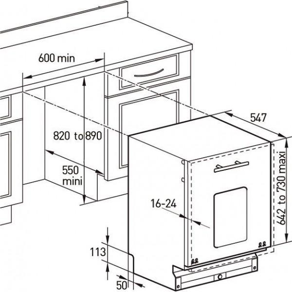 Kích thước lắp đặt máy rửa bát Brandt VH1235X