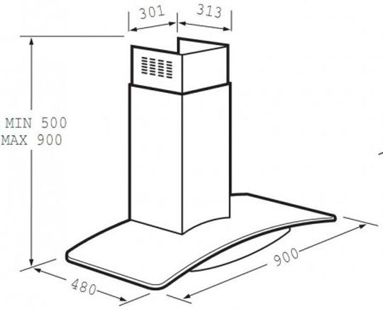 Kích thước hút mùi Fagor CPV-70X