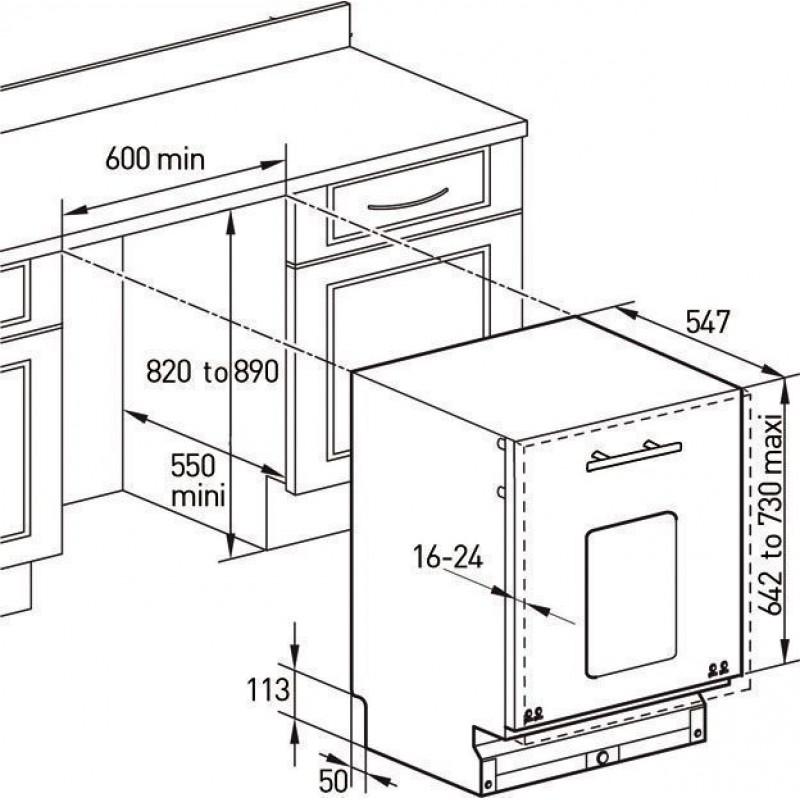 Kích thước Máy rửa bát âm tủ Brandt VH1225JE1