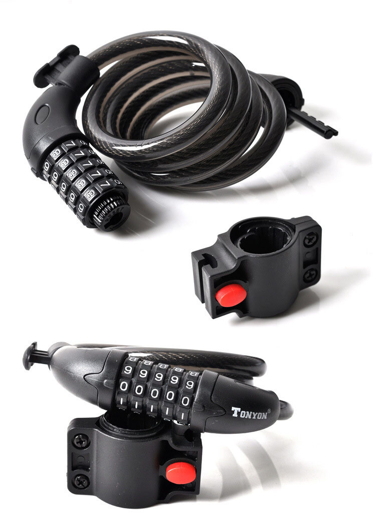 Khóa dây xe đạp 5 số Tonyon TY-566 đổi được mã khóa