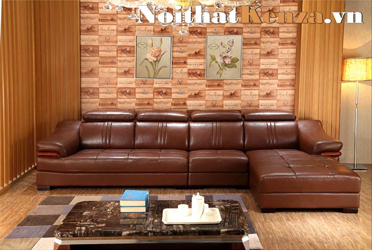 Sofa góc chữ L màu nâu