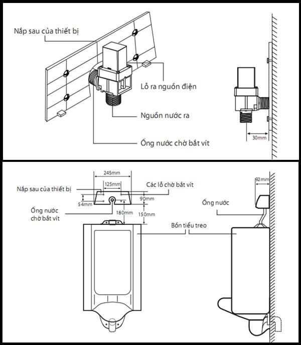 Sơ đồ và kích thước lắp đặt van cảm ứng tiểu nam SH-S3