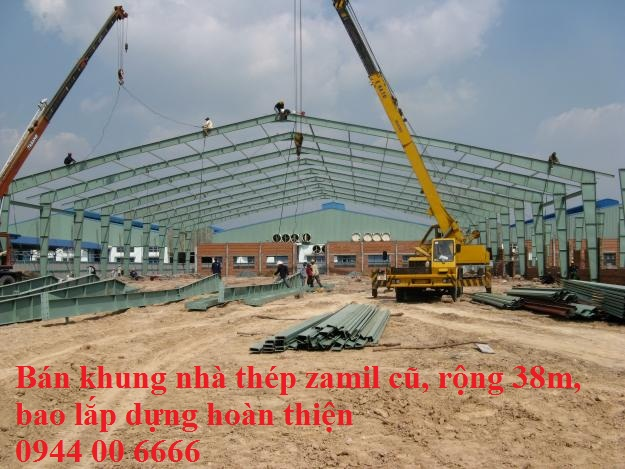 Bán khung nhà thép zamil cũ rộng 38m