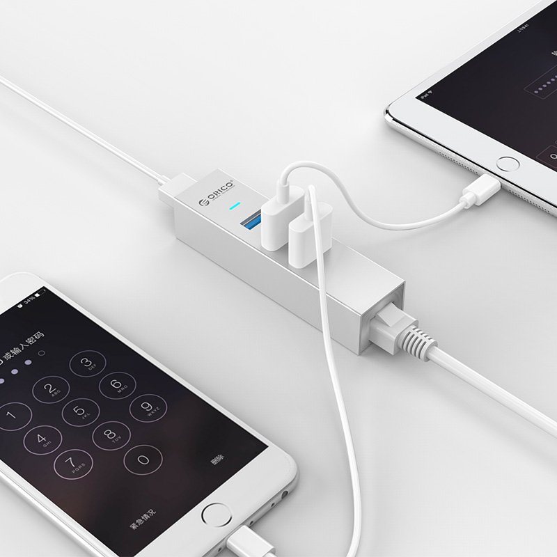 Bộ chia USB 3.0 3 Port + LAN Gigabit Orico MSH3L-U3 chính hãng