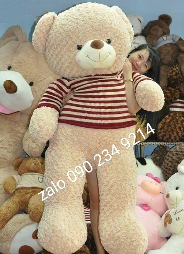 gấu bông khổng lồ lông xoắn hoa hồng\